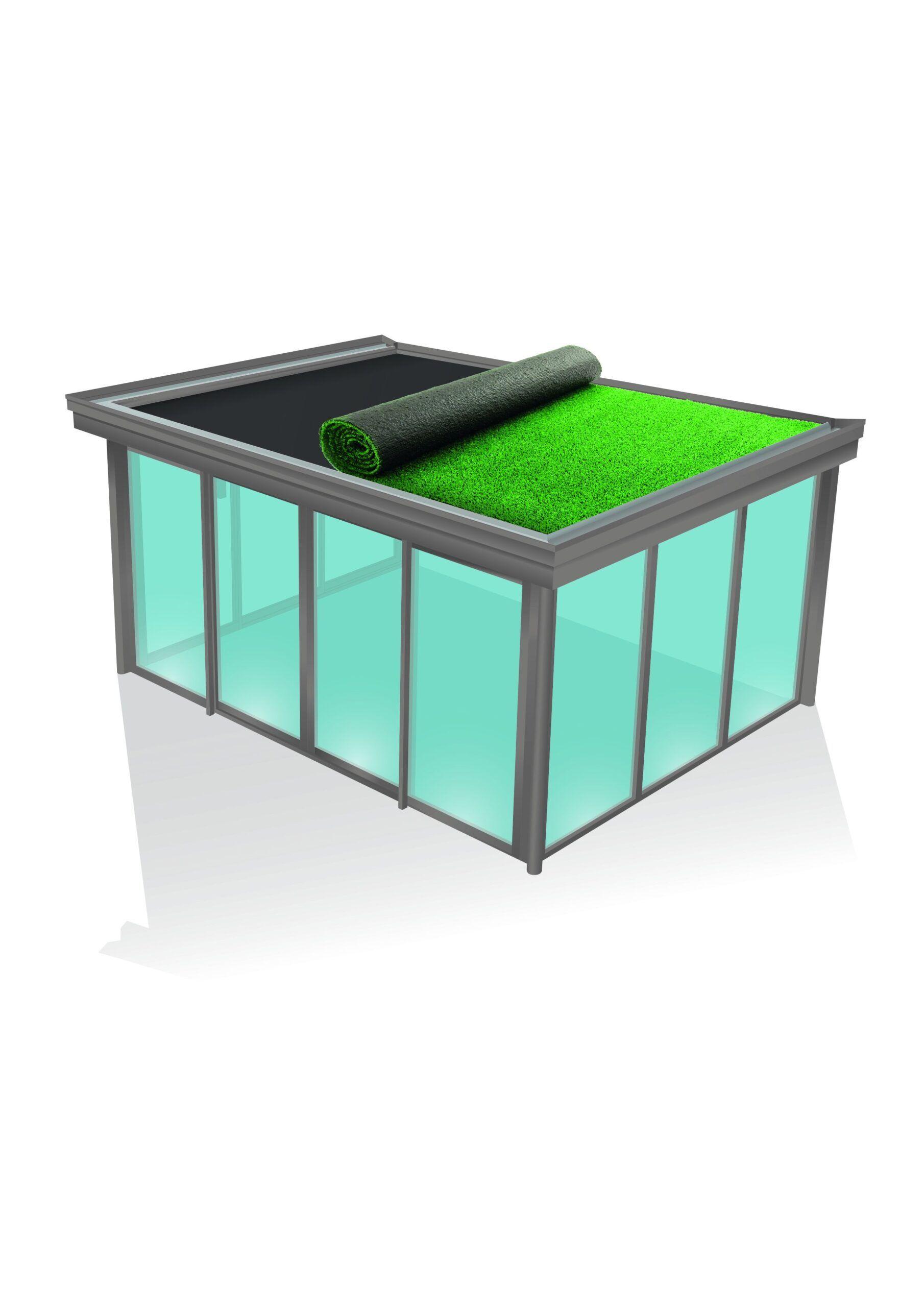 Veranda DRØM med faste isolerte plater i taket og integrert overlys vindu